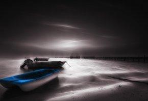 ночь, море, лодки, пейзаж