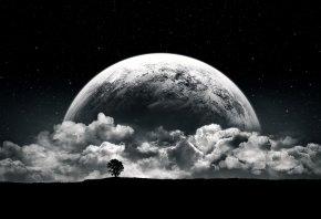 планета, дерево, облака, ночь, фэнтези