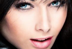 лицо, глаза, голубые, губки, красавица, девушка