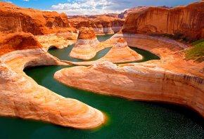 каньон, река, горы, природа, небо