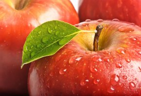 яблоко, красное, листик, капли