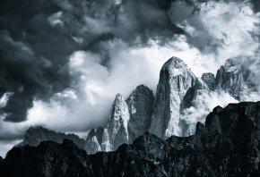 горы, природа, облака, снег