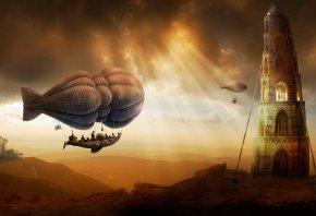корабль, воздушный, башня, солнце, тучи