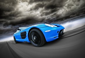 Обои mercedes, benz, slr, blue