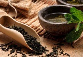 чай, зеленый, заварка, пиалы, листья, циновка