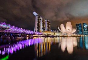 ночь, сингапур, отель, огни