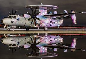 E-2C Hawkeye, самолёт, винты, радар, отражение