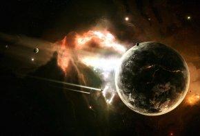 планеты, звезды, туманность, вспышка, космические корабли
