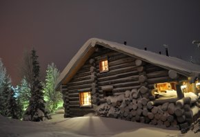 ночь, сугробы, дрова, дом, Зима