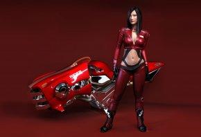 девушка, мотоцикл, байк, красный