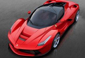 Обои Ferrari, передок, фары, red