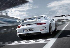 Porsche, 911, GT3, разметка, белая, трасса, спойлер
