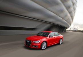 Audi, S6, Ауди, Красный, Передок, В Движении