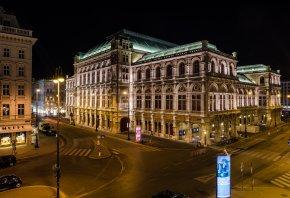 Обои Vienna, Вена, Austria, Австрия, театр, оперный, здания, дороги, машины, освещение, ночь