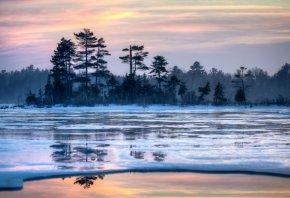 Обои закат, зима, озеро, пейзаж, деревья, снег
