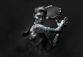 девушка, Большой, тенис, арт, ракетка