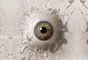 Глаз, зрачок, белая жидкость, руки, лица