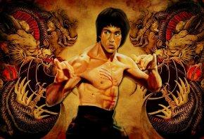 Обои Брюс Ли, Bruce Lee, актер, единоборства, дракон
