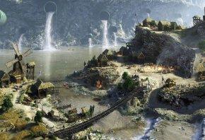 деревня, поселок, мост, трубы, вода, река