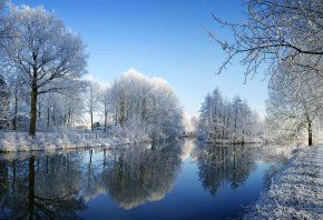 зима, река, деревья, снег, белый