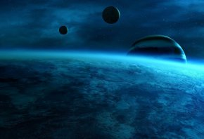 голубой цвет, звезды, планеты, пустота, туман