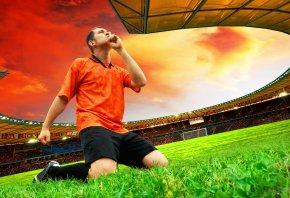 Обои футбол, футболист, стадион, поле, травка
