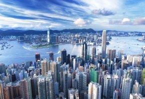 Обои Hong Kong, Гонконг, мегаполис, здания, небоскрёбы