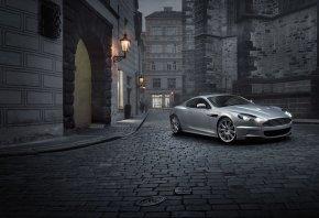Aston Martin, DBS, Кабриолет, Брусчатка, Ночь, Серый