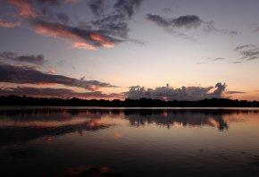 вода, закат, небо, облока, вечер