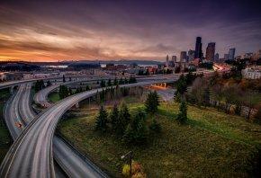 Обои закат, город, дороги, облака, здания