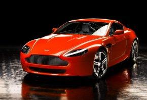 Обои Aston Martin, Vantage, Передок, Спорткар, Оранжевый, Отражение, Капот, Фары