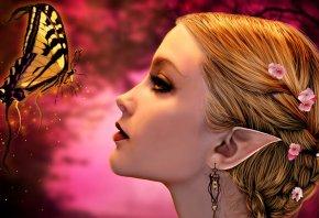 Обои эльф, уши, волосы, цветы, серьги, профиль, лицо, бабочка