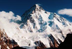 гора чогори, кашмир, горы, белый снег