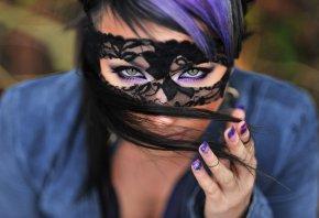 маска, глаза, волосы, взгляд, рука