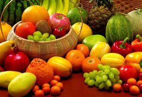 фрукты, паприка, дыни, арбуз, бананы, Ананас, мандарины, гранат