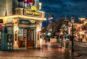 california, фотосалон, улица, ночь, калифорния, огни