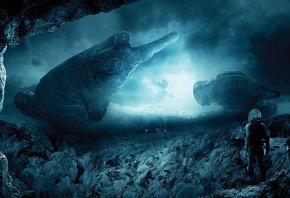 Prometheu, промитей, планета, камни, скалы, космический корабль