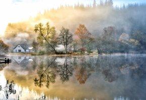 природа, небо, облака, пейзаж, озеро, вода, деревья, осень