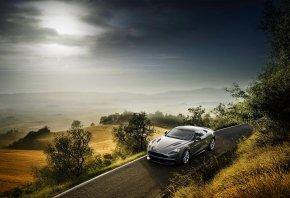 Aston Martin, Vanquish, Дорога, Небо, Серый, Астон Мартин