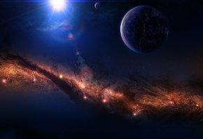 космос, туманность, звезды, свечение, планета, спутник, трещина