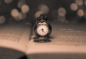 часы, время, книга, надпись