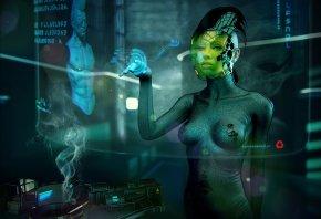 Обои девушка, интерфейс, символы, будущее, оружие