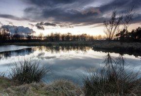 травка, закат, озеро, пейзаж, отражение