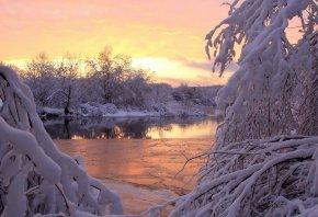 закат, река, снег, Зима, вода, деревья