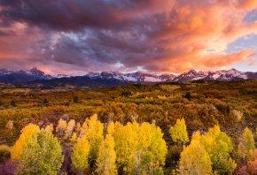 осень, небо, лес, облака, Горы