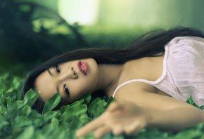 девушка, азиатка, травка, лето, лежит
