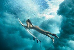 Обои девушка, серфинг, вода, плывет, океан