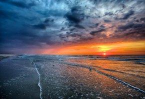 море, закат, солнце, чайки, волны, облока