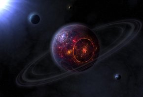 планета, кольца, огонь, взрыв, солнце