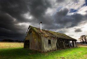 старый дом, сарай, трава, небо, крыша